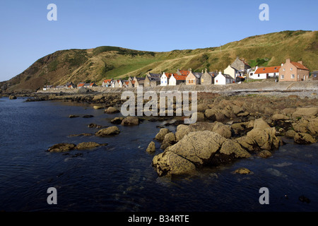 Former fishing village and harbour of Crovie on the north coast in Aberdeenshire, Scotland, UK - Stock Photo