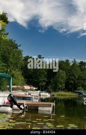 Homeowner docks on lake near Waupaca Wisconsin - Stock Photo