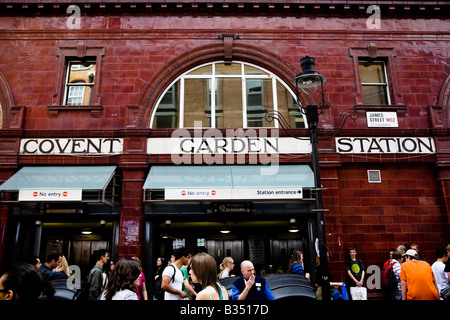 Outside of the Covent Garden underground, tube station in London, UK - Stock Photo