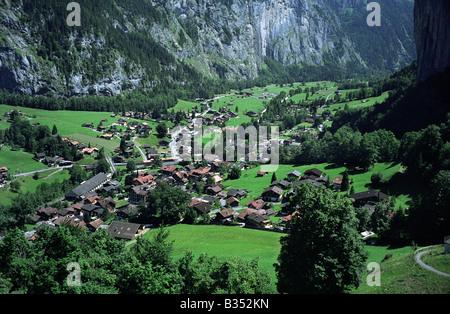 Switzerland Lauterbrunnen in the Bernese Oberland Berner Oberland  2008 - Stock Photo