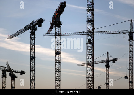 Cranes at the City Center construction site near Rhein-Main Airport, Frankfurt - Stock Photo
