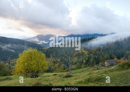 Misty early daybreak in autumn Carpathian mountain, Ukraine - Stock Photo