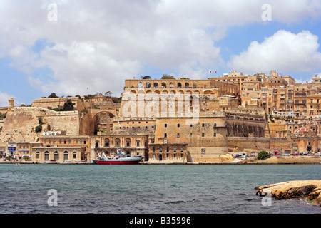 Grand Harbour and Valletta skyline, Malta - Stock Photo