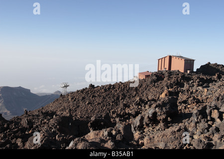 The upper cable car station on mount Teide at about 3 500 metres above sea level Tenerife Canary Islands Spain - Stock Photo