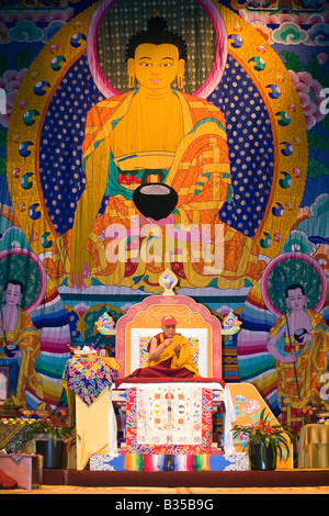 The14th DALAI LAMA teaches ATISHAS LAMP FOR THE PATH TO ENLIGHTENMENT in October 2007 in BLOOMINGTON INDIANA - Stock Photo