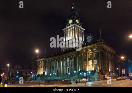 Leeds Town Hall at night (designed by the local architect Cuthbert Brodrick), Leeds, West Yorkshire, England - Stock Photo