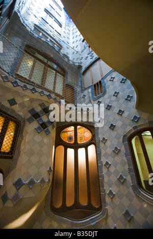 SPAIN Barcelona Interior courtyard of Casa Batllo designed Antoni ...