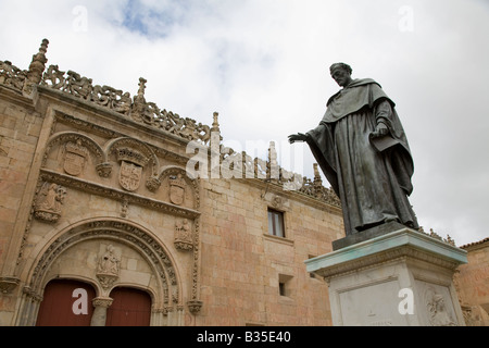 SPAIN Salamanca Statue of Fray Luis de Leon outside University building oldest educational institution in Spain - Stock Photo