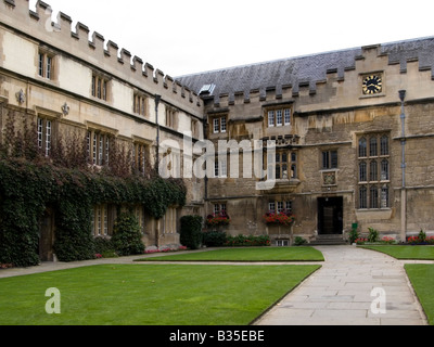 The Quad at Jesus College, Oxford University, Oxfordshire, England - Stock Photo