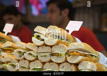 SPAIN Barcelona Pile of vegetarian sandwiches displayed for sale in La Boqueria produce market price in euros - Stock Photo