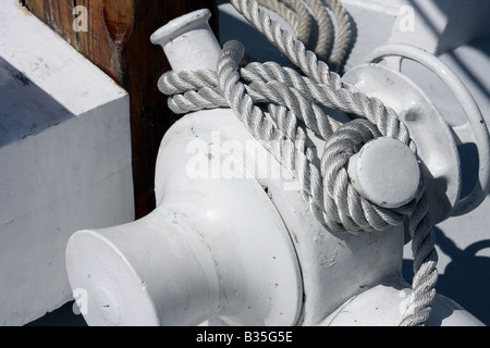 The rope rigging of the Red Witch ship at the Maritime Festiville in Port Washington Wisconsin - Stock Photo