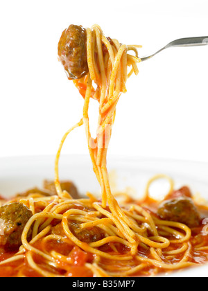 Spaghetti and Meatballs on a fork - Stock Photo