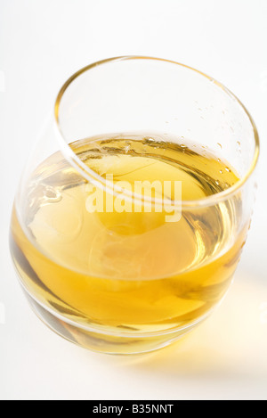 Glass of whiskey, high angle view - Stock Photo