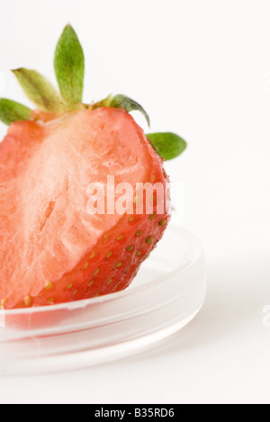 Cross section of strawberry in small cosmetic container, close-up - Stock Photo