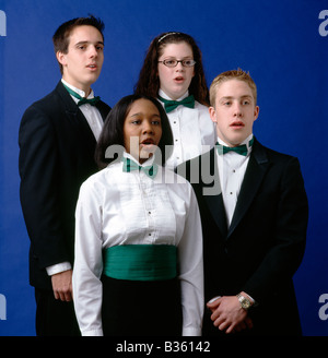 Choral group of high school boys & girls at a private school - Stock Photo