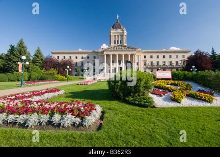 The exterior front of the Manitoba Legislative buildings in Winnipeg Manitoba Canada