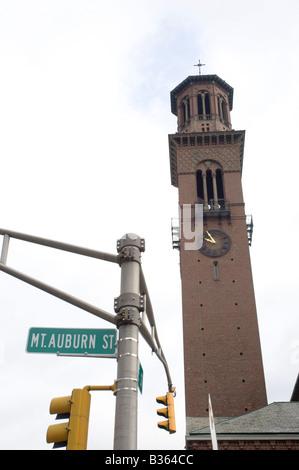 church belltower near the bow and arrow at harvard in cambridge massachusetts - Stock Photo