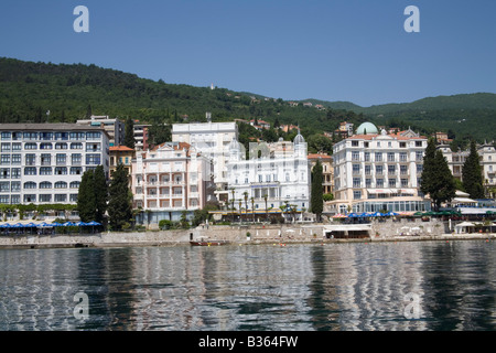 Opatija Istria Croatia Europe May The Casino and sea front hotels with cafes and restaurants - Stock Photo