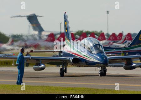 Aermacchi MB 339PAN Italia of Italian Air Force Frecce Tricolori aerobatic group taxi during Air show in Kecskemét - Stock Photo