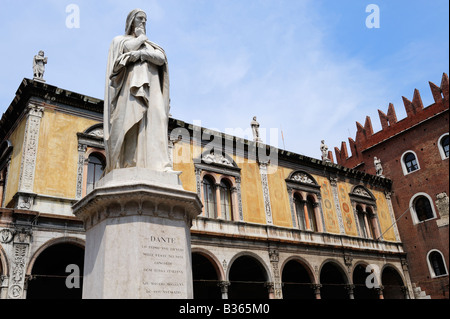 Statue of Dante in Verona Italy - Stock Photo