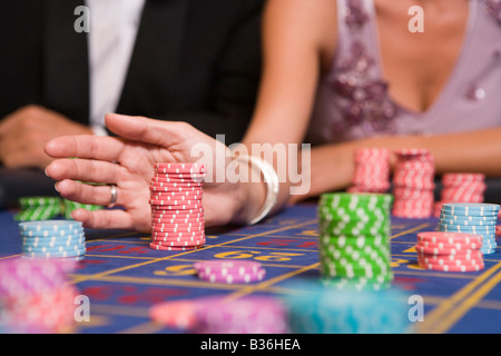 Chips on Roulette Table - Stock Photo