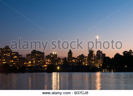 'Evening skyline Coal Harbour Vancouver Canada' - Stock Photo
