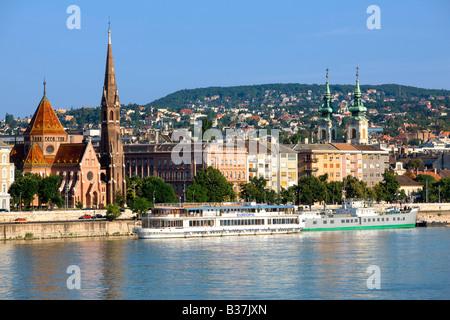 Danube river and Buda in Budapest Hungary - Stock Photo