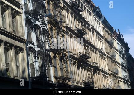 Cast iron buildings in Tribeca - Stock Photo