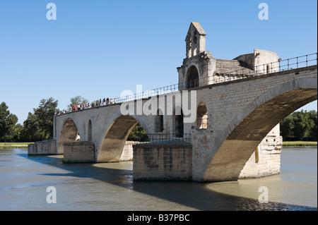 Pont Saint Benezet (the famous Pont d'Avignon) on the River Rhone, Avignon, Provence, France - Stock Photo