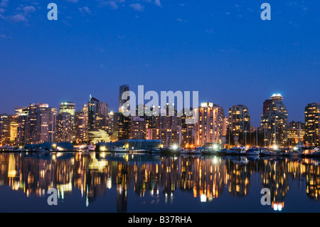 Evening skyline Coal Harbour Vancouver Canada - Stock Photo