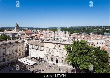 View over the Place du Palais towards the River Rhone and the Place de l'Horloge, Palais des Papes, Avignon, Provence, - Stock Photo