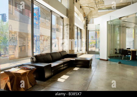 Interior of an urban office lobby