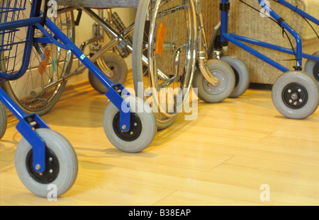 tyres of collator and wheelchair retirement home Germany - Stock Photo