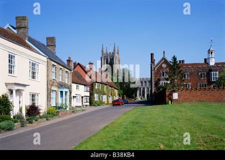 United Kingdom England Suffolk Long Melford Green Holy Trinity Church - Stock Photo