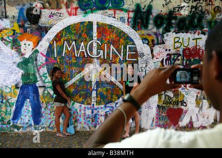 Aug 2008 - John Lennon Wall Prague Czech Republic - Stock Photo