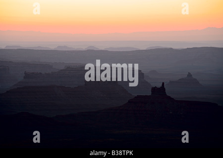 Sunrise from Moki Dugway on US 261 just north of Mexican Hat Utah - Stock Photo