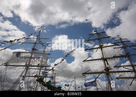 Square rigged masts on boats in Tall Ships race berthed at Wellington Dock Liverpool Merseyside England UK 2008 - Stock Photo