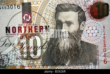 Northern Irish Sterling and United Kingdom 10 pound Bank Note - Stock Photo