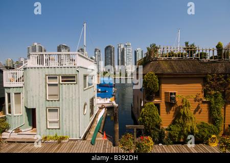 House boats in False Creek Granville Island Vancouver Canada - Stock Photo