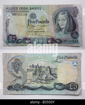 Northern Irish Sterling and United Kingdom 5 pound note - Stock Photo