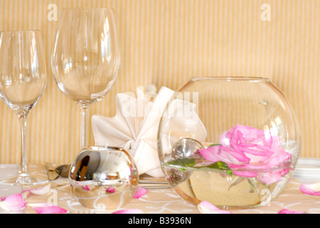 Tischdekoration in einem Hotel, table decoration - Stock Photo
