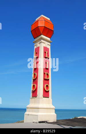 Art Deco Lido sign, Ethelbert Terrace, Margate, Kent, England, United Kingdom - Stock Photo