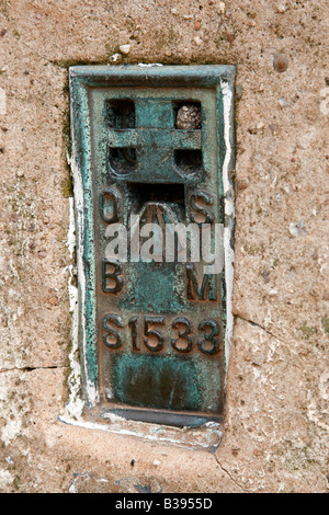 detail of the ordinance survey bench mark flush bracket for the trig point on walton hill worcestershire england - Stock Photo