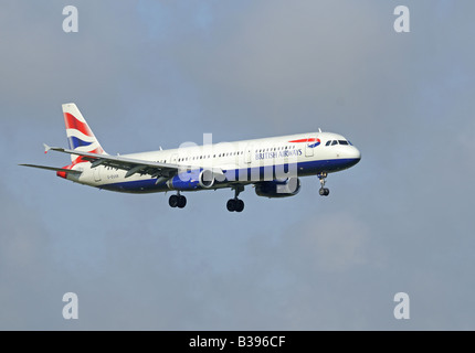 British Airways Airbus A 321-231 on Approach to Aberdeen Dyce Airfield Grampian Region North East Scotland - Stock Photo