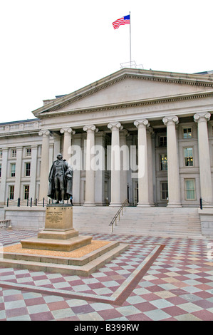WASHINGTON DC, USA - North entrance of the US Department of the Treasury, Washington DC. Statue of Albert Gallatin, - Stock Photo