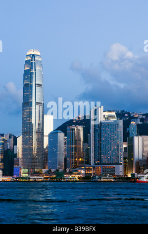 'The skyline of the Central Business District of Hong Kong Island on a clear night in Hong Kong ' - Stock Photo
