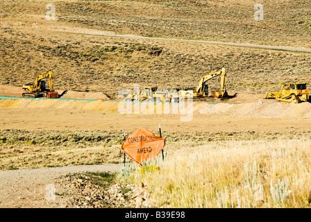 pipeline construction through a gas field in Wyoming - Stock Photo