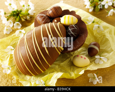 Traditional hand made decorated chocolate Easter eggs - Stock Photo
