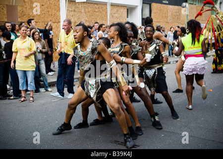 Dancers performing at the Notting Hill Carnival 2008 in London UK - Stock Photo