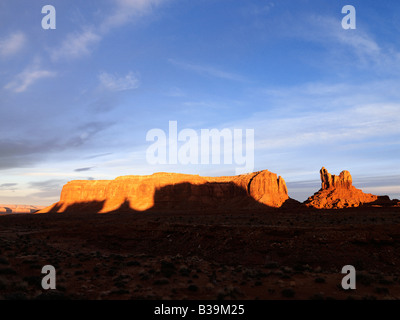 Scenic landscape of mesas in Monument Valley near the border of Arizona and Utah United States - Stock Photo